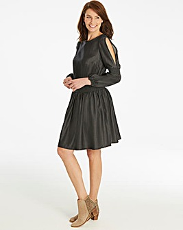 Volume Sleeve Shirred Waist Tencel Dress