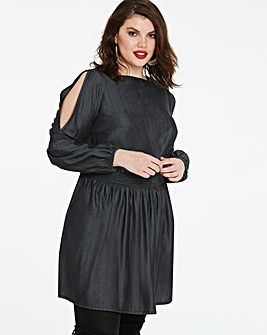 Volume Sleeve Shirred Soft Lyocell Dress