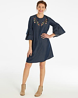 Embroidered Fluted Sleeve Lyocell Dress