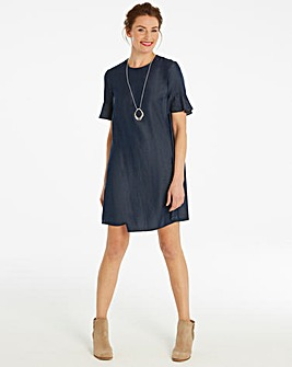 Fluted Sleeve Denim Swing Dress