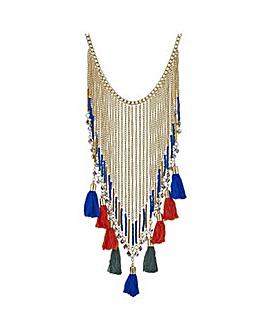 Mood Fringed tassel collar necklace