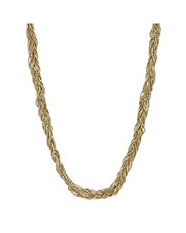 Mood Gold bead plaited twist necklace