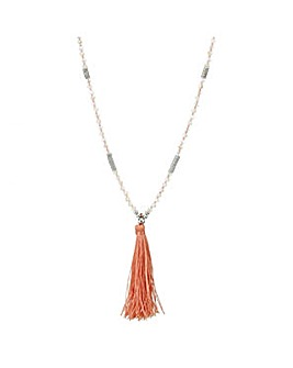Mood Coral tassel long beaded necklace