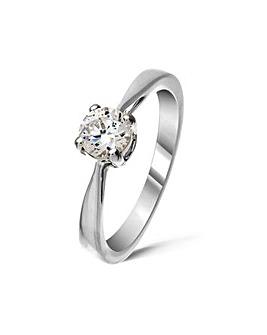 9ct White Gold 0.5Ct Diamond Ring