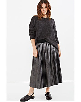 Elvi Metallic Pleated Skirt
