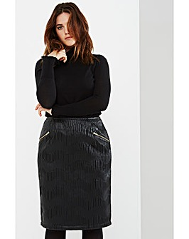 Elvi Textured Pencil Skirt
