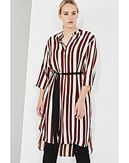 Elvi Striped Shirt Dress