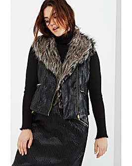 Elvi Faux Fur Collar Textured Gilet