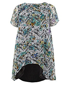 Koko Floral Print Dip Hem Tunic Dress