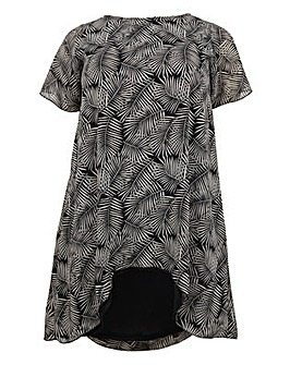 Koko Palm Leaf Print Dip Hem Tunic Dress