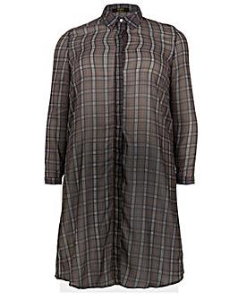 Koko Tartan Print Longline Shirt