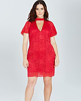 Girls On Film Red Lace Shift Dress