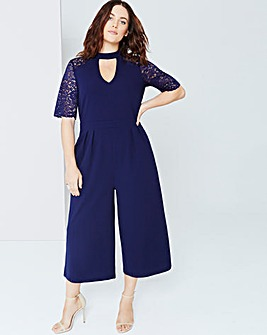 Girls On Film Navy Lace Jumpsuit