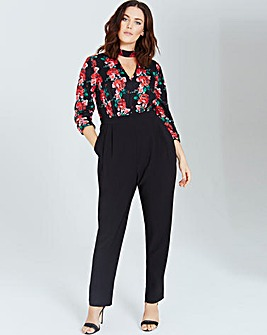 Girls On Film Rose Print Jumpsuit