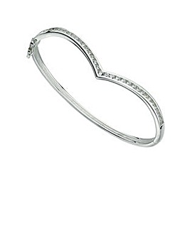 Cubic Zirconia Wishbone Bangle