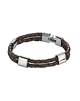 Double strand brown leather bracelet