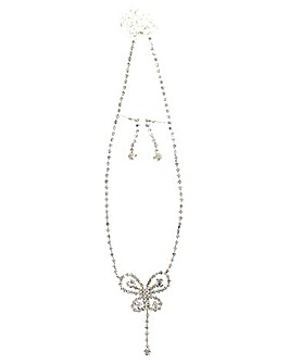 Diamante Butterfly Jewellery Set