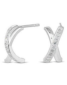 Simply Silver Crystal Cross Stud Earring