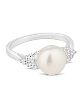 Simply Silver Pearl Cubic Zirconia Ring