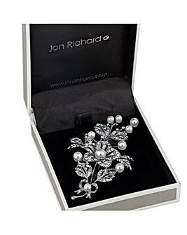 Jon Richard Pearl Crystal Flower Brooch