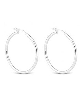 Simply Silver Textured Hoop Earring