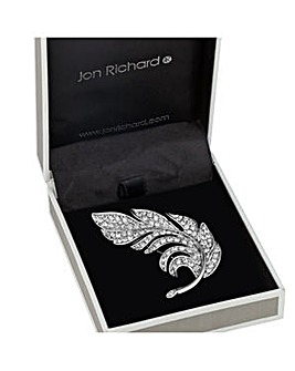 Jon Richard Crystal Feather Brooch