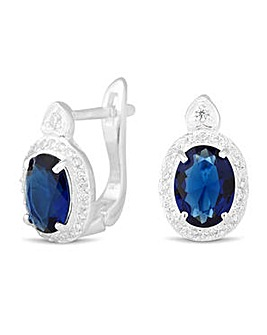 Simply Silver Oval Blue Earring