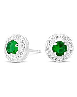Simply Silver Clara Green Stud Earring