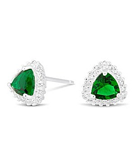 Simply Silver Green Triangular Earring