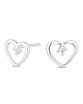 Simply Silver Open Heart Stud Earring