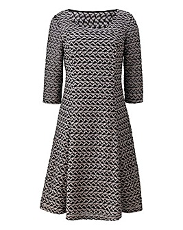 Textured Fabric Fit And Flare Dress