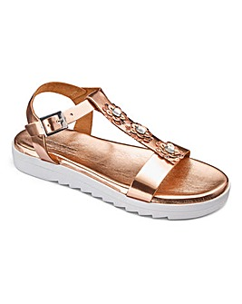 Heavenly Soles Flower Trim Sandals D Fit