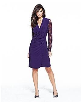 Mock Wrap Lace Sleeve Dress