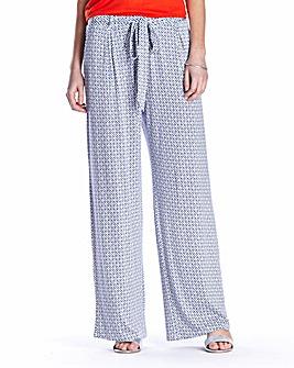 Print Jersey Wide Leg Trousers Regular
