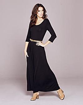 Plain Black Jersey Maxi Dress