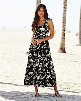 Floral Print Jersey Dress 50in