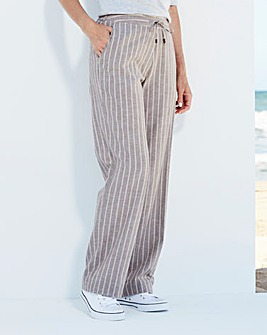Stripe Linen Mix Trousers Extra Short