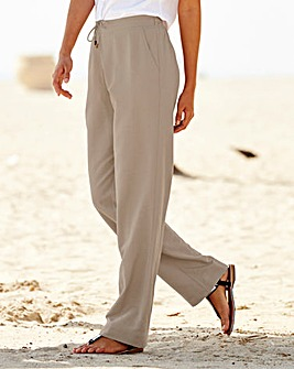 Linen Mix Straight Leg Trs - X Short