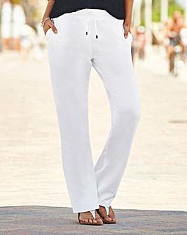 Linen Mix Straight Leg Trs - X Short