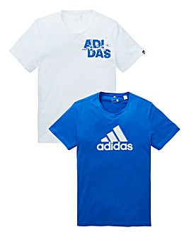 adidas Pack of Two Print T-Shirts