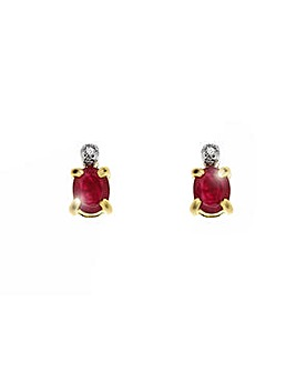 9ct Yellow Gold Ruby & Dia Stud Earring