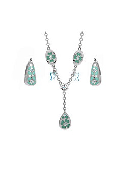 Rhodium Plated Butterfly Necklace Set
