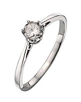 9ct White Gold 0.12Ct Diamond Ring