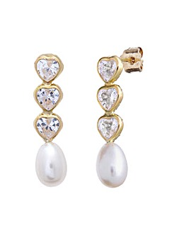 9ct Gold 0.66Ct CZ Pearl Earrings