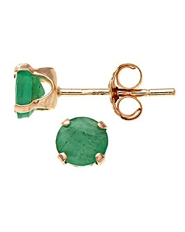 9ct Gold 0.54Ct Emerald Earrings
