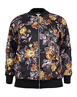 Koko Leaf and Flower Print Bomber Jacket