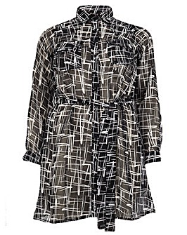 Koko Aztec Print Belted Shirt Dress