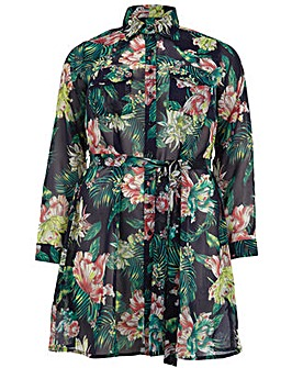 Koko Tropical Floral Belted Shirt Dress