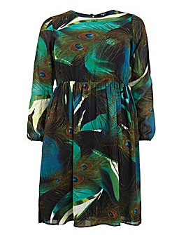 Koko Peacock Print Midi Dress