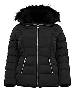 Koko Fur Collar Quilted Jacket
